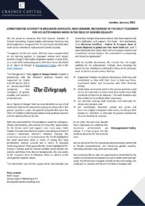 LONGSTANDING DIVERSITY & INCLUSION ADVOCATE, NICK CRASNER, RECOGNISED IN THE DAILY TELEGRAPH FOR HIS OUTSTANDING WORK IN THE FIELD OF GENDER EQUALITY-page-001 copy